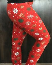 Buttery Soft Christmas Snowflake Legging One Size S M L Ornament Holiday Snow OS