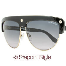 Tom Ford Square Sunglasses TF318 Liane 01B Black/Rose Gold FT0318
