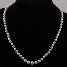 Graduated Real Freshwater White Pearl Necklace & Sterling Silver Clasp-UK Seller