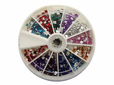 6cm NAIL ART GEMS JEWELS DESIGN CRAFT NAILS WHEEL 2mm SQUARE MIXED COLOUR GEMS