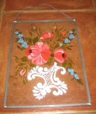 Handpainted Flowers Leaded Frame Wall Hanging