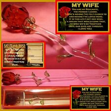 SINGLE RED ROSE GLASS MY WIFE  BIRTHDAY GIFT  I LOVE YOU ONE CARD SOULMATE TAG