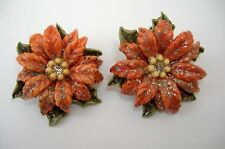 Poinsettia Flower Vintage Earrings Clip-On Red Floral Green Leaves Retro Holiday