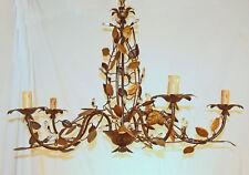 LAMPADARIO BAROCCO LUCI A LED ART.92 FERRO BATTUTO FOGLIE in ORO ANTICO NUOVO