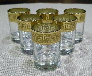 Russian Set of 6 Versace Style Vodka Shot Glasses by Promsiz Decorated Glass NIB