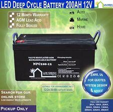 200AH Amp Hour 12V Battery AGM Deep Cycle 12V -LED -PICKUP-