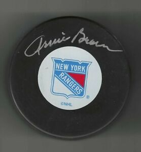 Arnie Brown Signed New York Rangers Puck