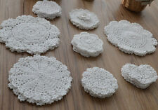 Lot 32 Assorted Hand Crochet Lace White Round Doilies Snowflake Heart Wedding