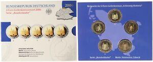 BRD 2 Euro Gedenkmünzenset 2006 - Schleswig-Holstein - Spiegelglanz