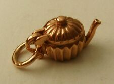 SOLID 9ct ROSE GOLD 3D ANTIQUE TEA POT CHARM/PENDANT