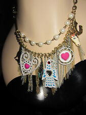 BETSEY JOHNSON INDIAN SUMMER CHARM EAGLE HORSE FEATHER STATEMENT NECKLACE