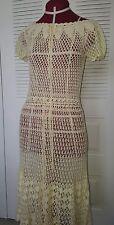 VINTAGE CROCHET KNIT OFF WHITE BOHEMIAN WEDDING DRESS DRESS SZ 6/8
