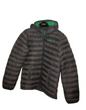 Mountain Warehouse boys hooded puffer style jacket grey green 11-12 good cond.