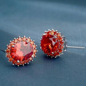 Elegant 925 Silver Ruby Earrings for Women Jewelry Cubic Zirconia Gift A Pair