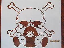 Skull and Crossbones Gasmask Stencil Reusable 10 mil Mylar Stencil