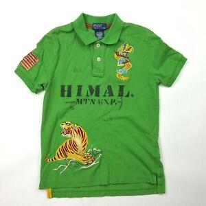 VTG Polo Ralph Lauren Boys Size 7 Himal Mtn Exp Dragon Tiger Lion Button Shirt