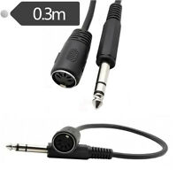 """Din 5 Pin Female Jack to 6.35mm 1/4"""" Male Plug Socket Stereo Audio AMP Cable 1ft"""