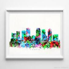 Tampa Florida Watercolor Skyline Wall Art Home Decor Poster UNFRAMED