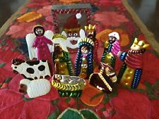 10 Pc. Tin Christmas Nativity in a Santa Box Mexican Folk Art, Mexico, New