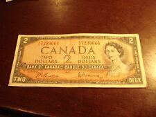 1954 - Canadian $2 bill - YU7299664  - two dollar note Canada