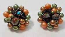 Vintage Colorful Beads Clip On Style Earrings - Japan