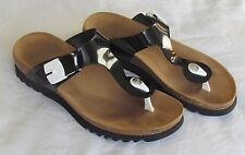 Scholl Bioprint Ladies Black Patent Leather Toe Post Wedge Mules Sandals Size 4