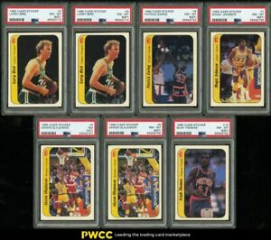 Lot(7) 1986 Fleer Sticker w/ Bird Ewing Magic Olajuwon Thomas RC, ALL PSA
