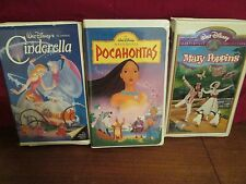 3 Disney VHS Black Diamond Cinderella, Mary Poppins and Pocahontas Masterpiece