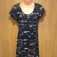 BNWT Mantaray Ladies Dress Size 8 Navy Blue Sequin Digital Shift Knee Length