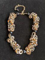 Vintage Estate Gold Tone Black Faceted Bead Tortoise Shell Statement Necklace