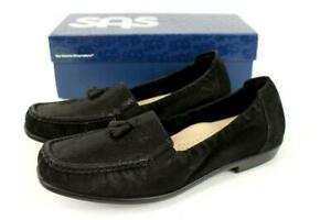 NEW $144 SAS Hope Slip On Loafer Shoes Onyx Black Suede Leather Tassels 10.5 M