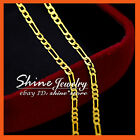 24K YELLOW GOLD GF N98 FIGARO CURB LINKS CHAIN MENS WOMENS SOLID NECKLACE 50CM