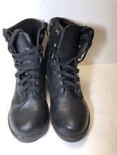Soda Women's 5 1/2 Black Leather Lace Up High Heeled Boots Side ZIP