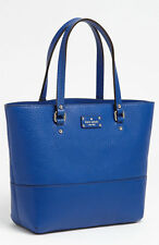 "Kate Spade Grove Court ""ABELA"" YVES BLUE COBALT PEBBLED leather tote bag"