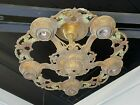 Antique C.1920 Cast Iron HANGING CHANDELIER w/ Original Red & Green Accents