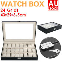 Leather Watch Jewelry Display Storage Holder Case 24 Grids Box Organizer Gift