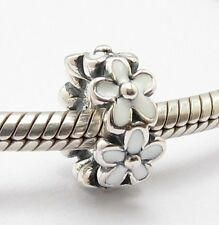 WHITE PRIMROSE FLOWERS SPACER CHARM Sterling Silver.925 4 European Bracelet 669