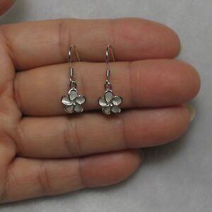 9mm Hawaiian Jewelry Plumeria Flowers Crafted of Silver 925 Hook Earrings TPJ
