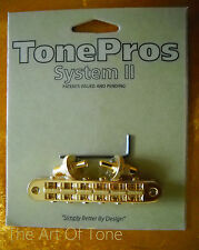 TonePros® T3BP-G Locking Tune-o-matic NASHVILLE Bridge - Gold - NOTCHED
