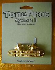 TonePros® T3BP-G Locking Tune-o-matic NASHVILLE Bridge - Gold - NOTCHED