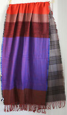 NWOT Gap Women's Gray Plaid and Blue/Red Stripe Acrylic Scarf