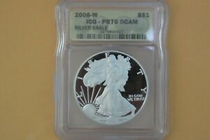2006 W PROOF SILVER EAGLE ICG PR70 DCAM YELLOW LABEL