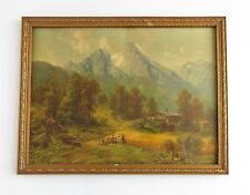 Vintage Lithograph Print Mountains Landscape Homestead Framed 9 x 12