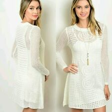 RE:NAMED White Ivory Crochet Cover Up Dress Acrylic Long Sleeve Mini Dress SMALL