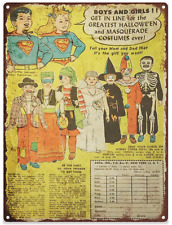 Super Heros Halloween Costume  Advertising Ad Baked Metal Repro Sign 9x12 60155