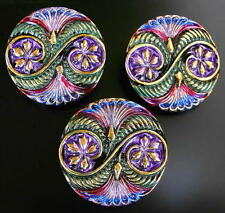 "3 Czech UNIQUE Glass Buttons #G662 - (32 mm) / 1-1/4"" - RARE HAND PAINTING!!!!!"