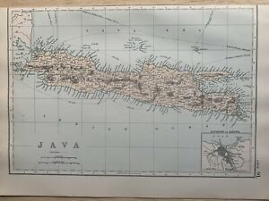 1891 Java Dutch East Indies Hand Coloured Original Antique Map by G.W. Bacon