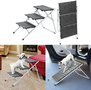 Metal Convertible pet Steps and ramp Stairs Portable Ladder 3 Steps Staircase