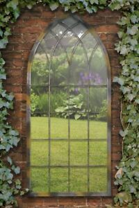 Extra Large Garden Somerley Church Rustic Arch Large Metal Mirror 161 x 72 CM