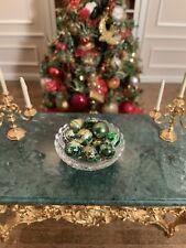 Dollhouse Miniature Artisan Green & Gold Christmas Decorations